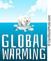 Global warming theme with polar bear