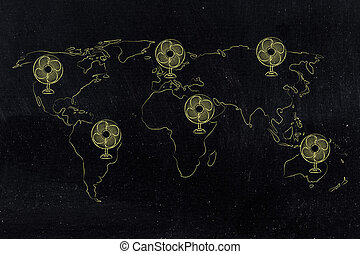 global warming, world map with funny electric fans