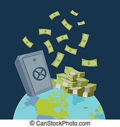 Global Wealth Vector Illustration Flat Design.