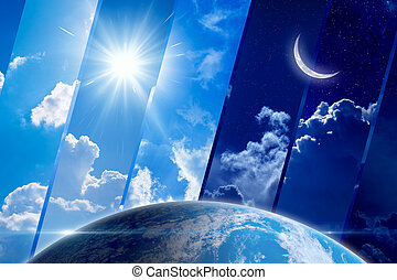 Global weather forecast background, day and night, sun and moon