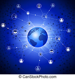 abstract network global web connections concept blue background