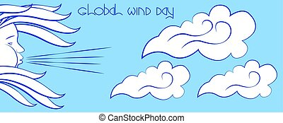 Global Wind Day. Wind symbol - face in profile, blowing,...