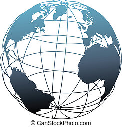Global wireframe latitude longitude grid Atlantic Earth 3D globe