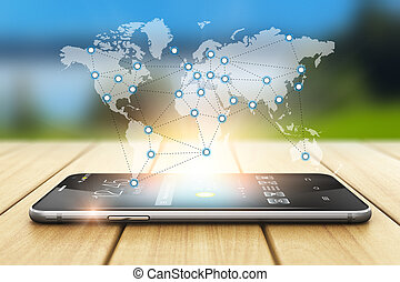 Global wireless communication and social network concept