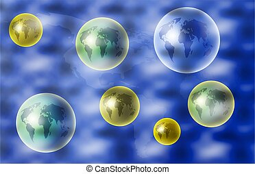 global world - a background universe of world globes