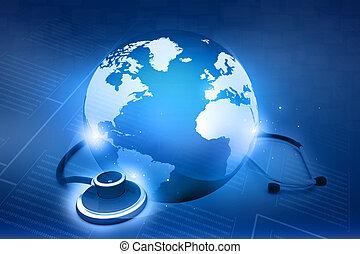 global, world., conceito, estetoscópio, cuidados de saúde