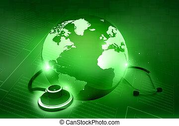 global, world., concept, stéthoscope, healthcare