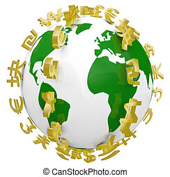 Global World Currency Symbols Around World - A series of...