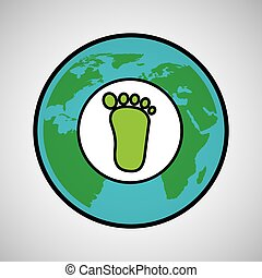 global world footprint ecology icon design