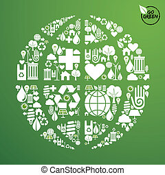 Global World in green icon set
