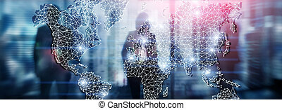 Global World Map Double Exposure Network. Telecommunication, International business Internet and technology concept.