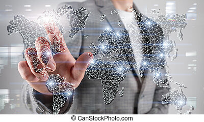 Global World Map Double Exposure Network. Telecommunication, International business Internet and technology concept