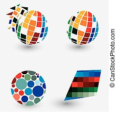 Global World Pixel Logos