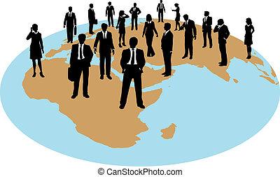global, zwingen, geschäftsmenschen, arbeit, ressourcen