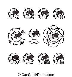 globala kommunikationer, ikon, sätta, med, klot, mull, vita, bakgrund
