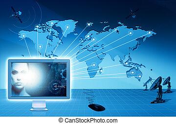 globala kommunikationer, och, internet., abstrakt,...