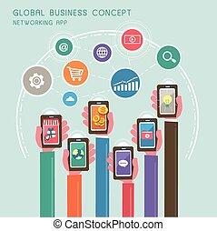 globale, appartamento, concetto, disegno, affari