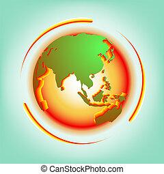 globale, astratto, vettore, warming