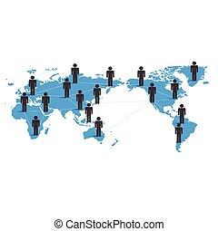 globale, begreb, netværk, firma