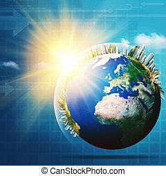 globale, communications., abstrakt, teknologi, og, transport, baggrunde