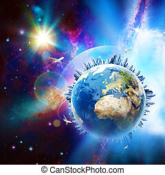 globale, communications., astratto, tecnologia, e, trasporto, sfondi