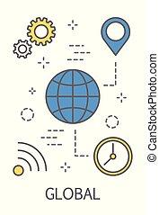 globale, concetto, illustrazione
