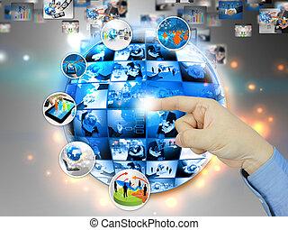 globale, connection., affari