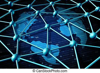 globale, data, netværk
