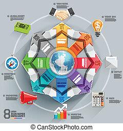 globale, diagram., affari, freccia