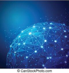 globale, digitale, mesh, netværk, vektor, illustration