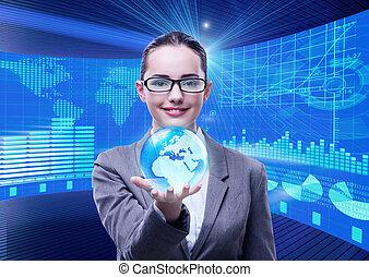 globale, donna d'affari, concetto, affari
