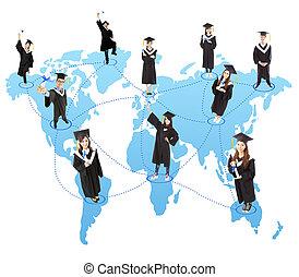 globale, graduazione, studente, sociale, rete