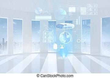 globale, hologram, firma