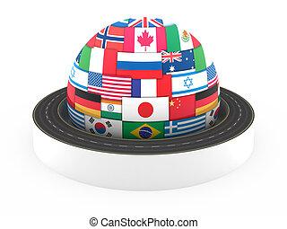 globale, hvid, begreb, transport, isoleret