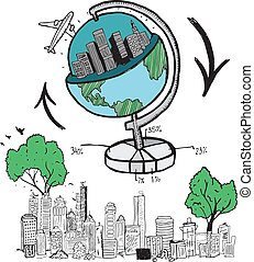 globale, illustrazioni, viaggiare