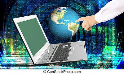 globale, innovativo, computer, internet, tecnologie, per, affari