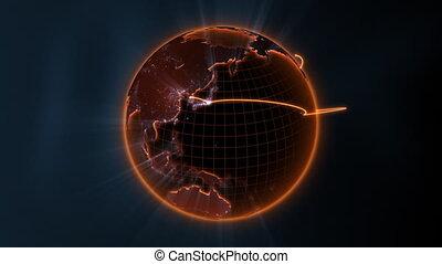 globale kommunikation, -, zentrieren, schleife