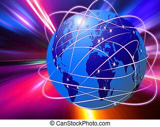 globale, kommunikationer internet, teknologi