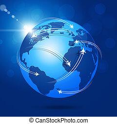 globale, luftfart, baggrund