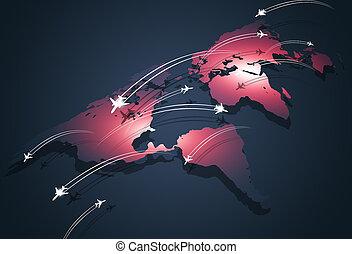 globale, luftfart, begreb, firma, baggrund