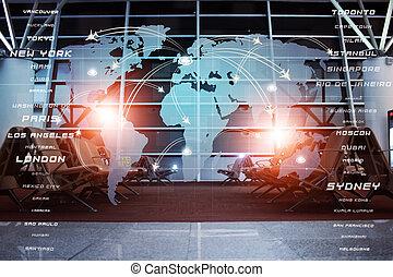 globale, luftfart, firma, baggrund
