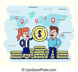 globale, mønter, kvinde, finans, mand