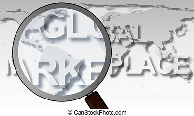 globale markt, plek, animatie