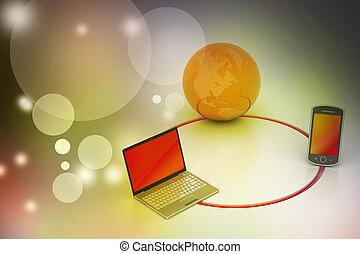 globale mededeling, concept, netwerk, internet