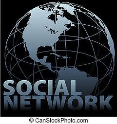 globale, media, sociale, rete, globo terra