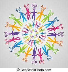 globale, medier, mandala, netværk, sociale