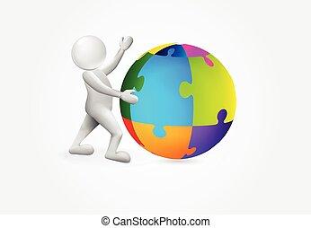 globale, person, puxxle, logo, lille verden, 3