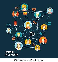 globale, professionel, begreb, netværk