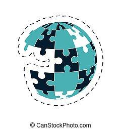 globale, puzzle, soluzione, immagine