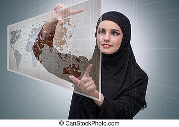 globale reise, begriff, moslem, frau